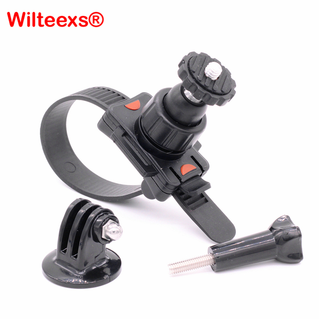 WILTEEXS belt zip Helmet Bike mount with Tripod Adapter Screw for GoPro Hero 5/4/3+/3/2/1 Xiaomi Yi 2 Sports Camera Accessories