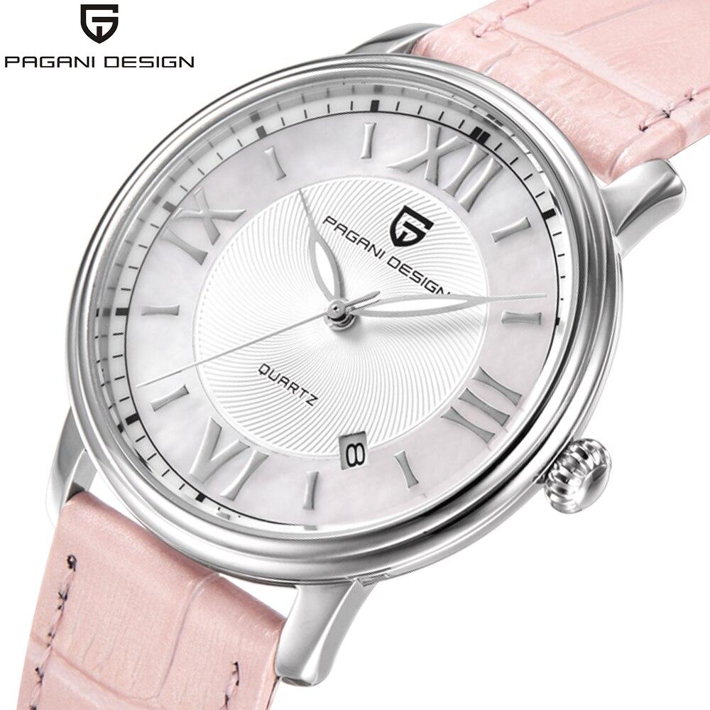 Pagani Design de Moda relógio de Quartzo Marca de Luxo Relógios Das Mulheres de discagem shell rosa elegante Genuínas Senhoras de Couro assistir Relogio feminino