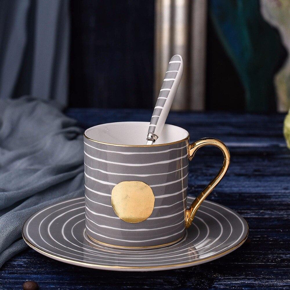 Nouveauté Fine Bone chine tasse soucoupe cuillère Style japonais et coréen bande thé/lait/café tasse en céramique ensemble 3 pièces