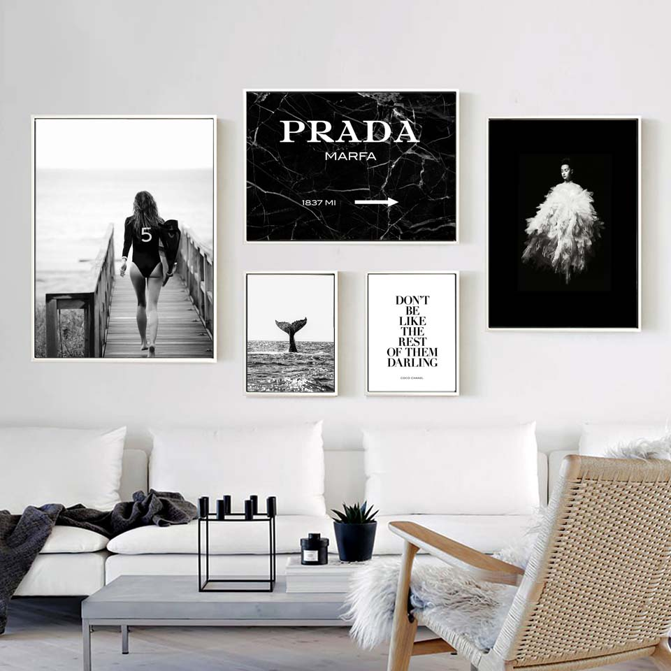 Poster Fashion Surf Woman Letter Nordic Wall Pop Art Canvas Painting Black White Vogue Picture Prints Living Room For Home Decor