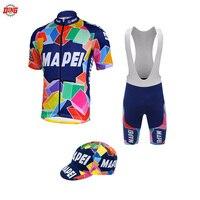 Новый велокофты для мужчин с коротким рукавом нагрудник шорты гелевый коврик pro велосипедная одежда MAPEI Джерси набор одежда для велоспорта ...