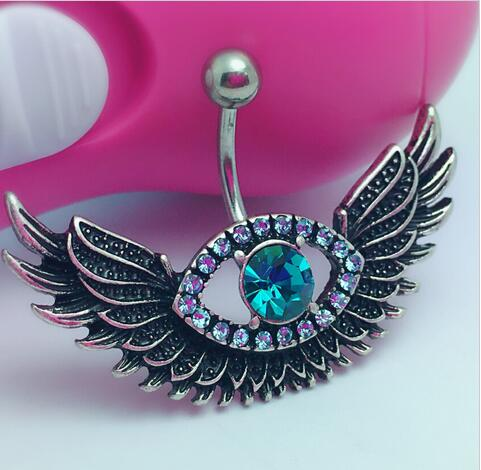 Us 1 21 Angel Wing Navel Piercing Sexy Blue Crystal Evil Eye Belly Button Rings Body Jewelry Fashion Rhinestone Big Eye Belly Ring On Aliexpress Com