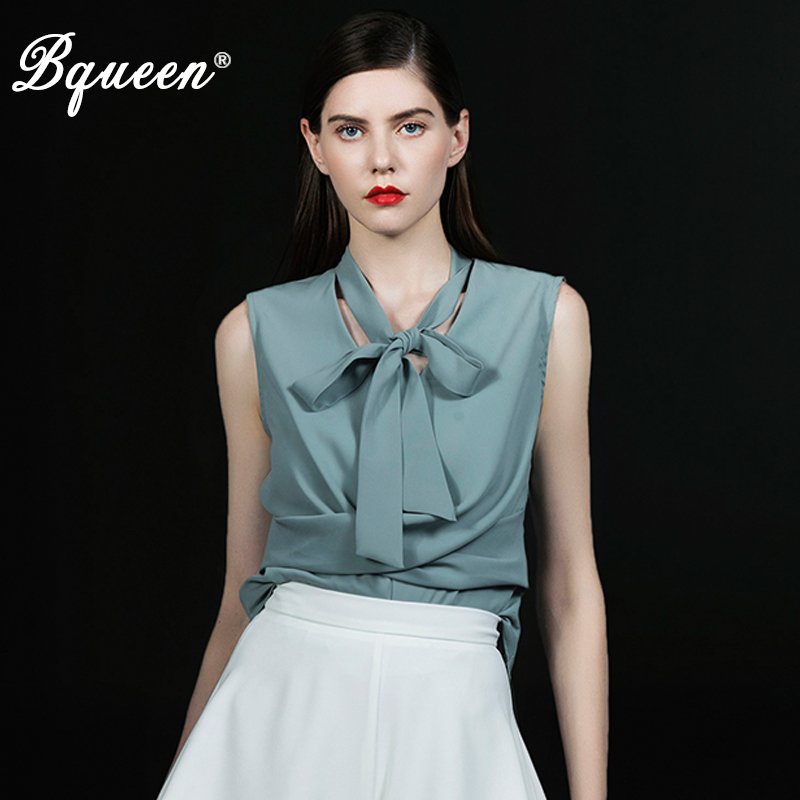 Bqueen 2019 Women's OL Style Casual V Neck Irregular Hem Bow Top Office Lady Daily Blouse Hot Sale