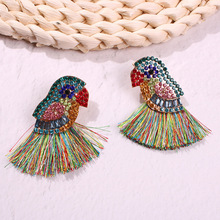 Multicolor Birds Tassel Earrings for Women Rainbow Rhinestone Statement Earring Bohemian Parrot Fringe Vintage Jewelry