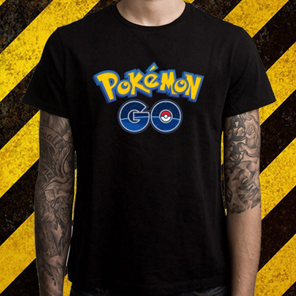 New Pokemon Go Logo *Pikachu Popular Game Mens Black T-Shirt Size S To 2XL New Design Cotton Male T Shirt Designing