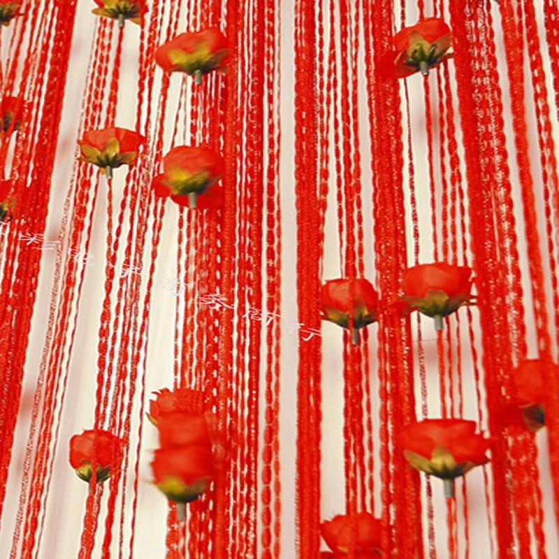 100 * 200см роза цветя линия завеса закрит висок декор сребърна коприна завеса хотелска спалня