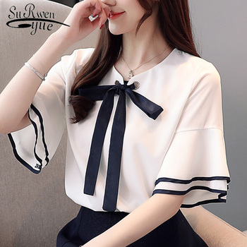25053c331e3 2019 модная женская блузка лето для женщин блузка рубашка Рог короткий рукав  шифон блузка