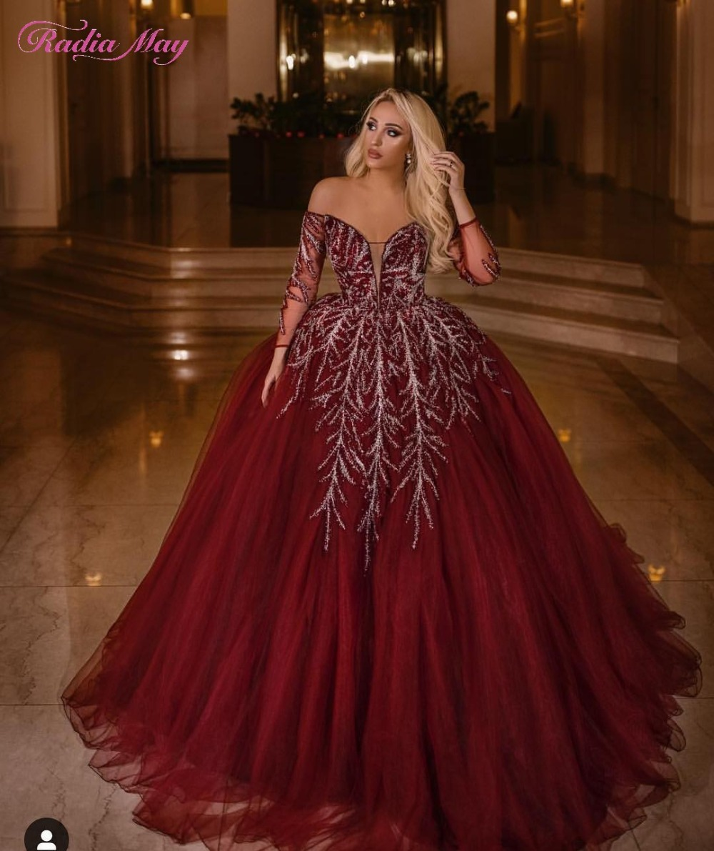 Arabic Off the Shoulder Burgundy Ball Gown Evening Dresses Beaded Long Sleeves Tulle Princess Kaftan Dubai