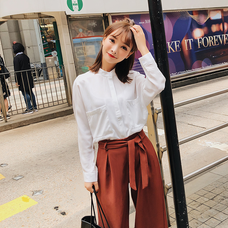 303992df996 New Fashion Casual Women Shirtslt Stand Neck + Wide Leg Blouse Shirt  3326-in Blouses   Shirts from Women s Clothing   Accessories on  Aliexpress.com ...