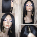Cheap 180% heavy density Yaki Long Straight Synthetic Lace Front Wig Heat Resistant Fiber With Baby Hair for Black /White Women