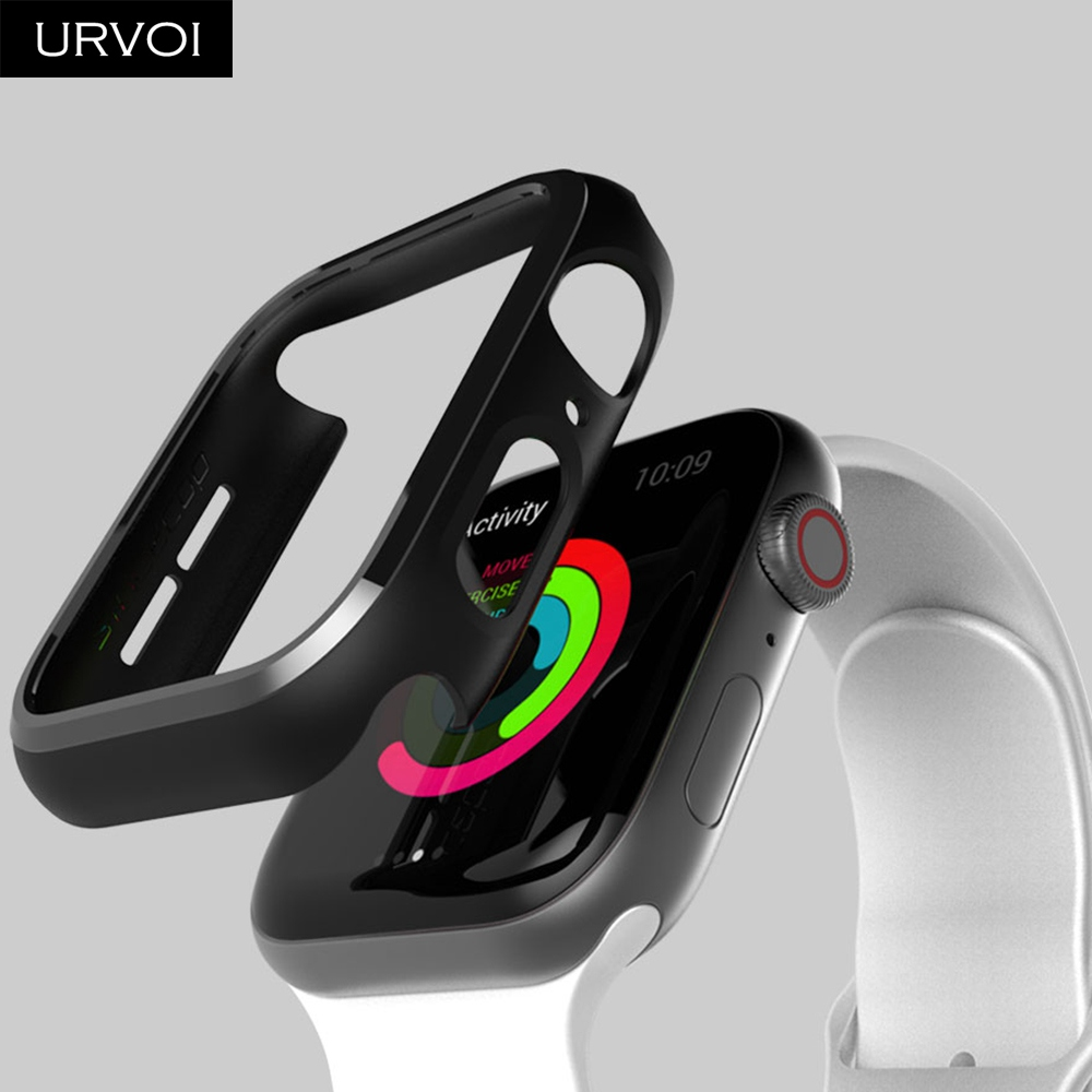 URVOI Black frame for Apple Watch series 4 3 Plastic bumper hard cover protectorfor iWatch 40 44mm slim fit Ultra-thin case_06