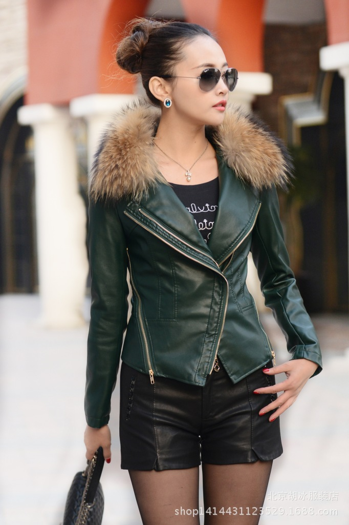 Biker leather jacket with fur collar – Fashionable jacket 2017 ...
