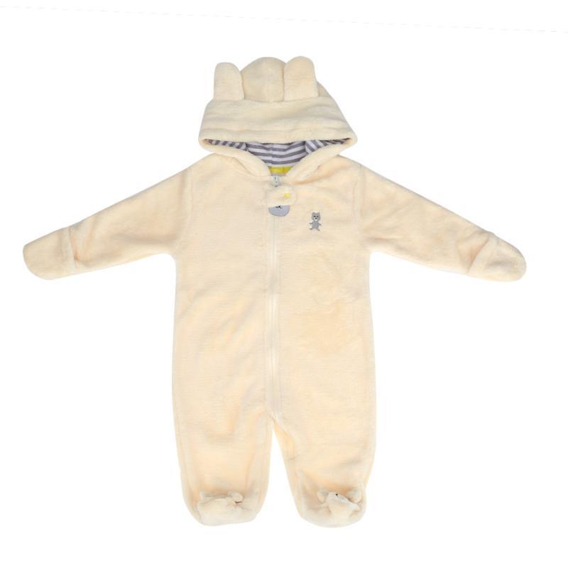 цена на Cute Baby Overalls Plush Winter Newborn Romper Cartoon Bear Coral Velvet Hooded Jumpsuit Toddler Warm Clothes