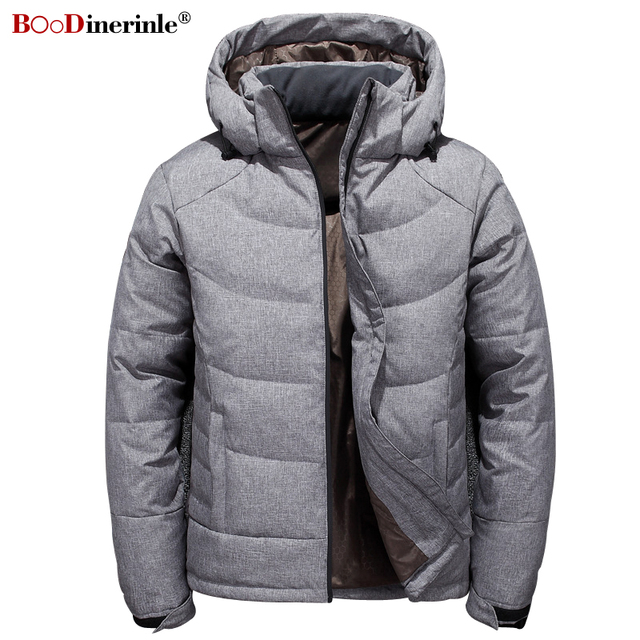 ca4630f4254 BOoDinerinle Thick Warm Casual Jacket for Men Hooded White Duck Down Coat  Parka Winter Classic Men s Basic Gray Outwear YR169