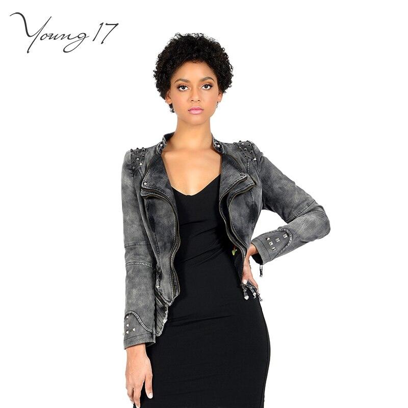 Young17 Gray Blue White Green Rivet Jackets For Women Asymmetric Punk Denim Jacket 6XL Autumn Winter Zipper Motorcycle Outerwear