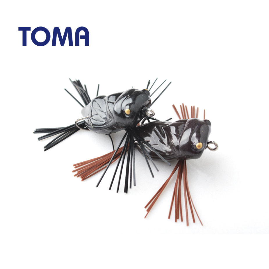 TOMA 6pcs/lot High Quality Cicada Frog Fishing Lures 40mm/5g Snakehead Lure Topwater Soft Bass Bait Frog Lure Fishing Tackle