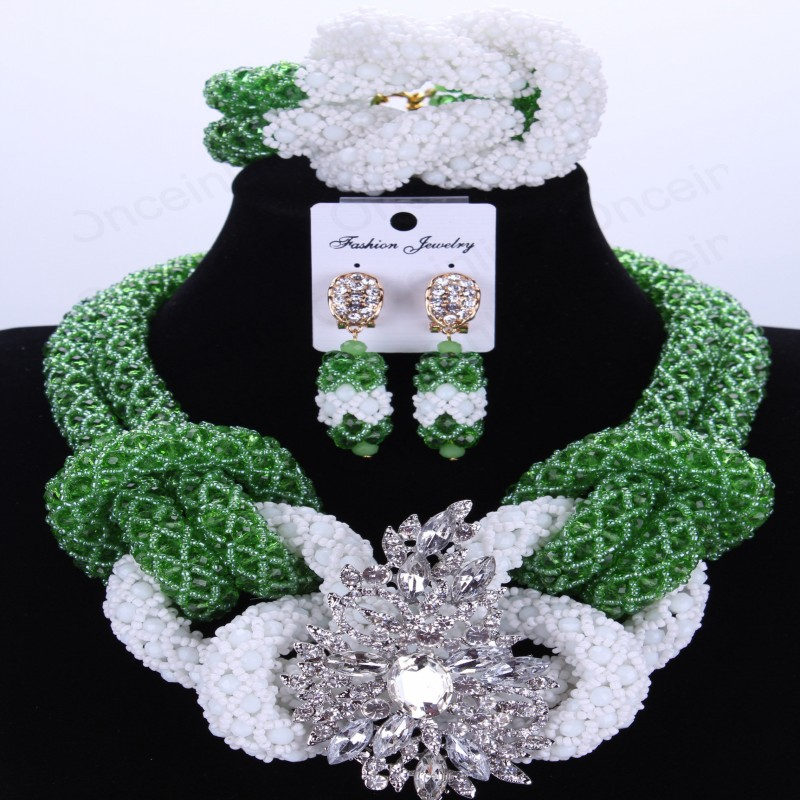 Green And White African Beads Jewelry Set Handmade Crystal Bridal Necklace Jewelry Set Choker Women Jewelry