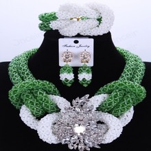 Green And White African Beads Jewelry Set Handmade Crystal Bridal Necklace Jewelry Set Choker Women Jewelry Set 2017