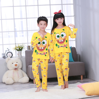 New Kids Sleepwear Children Warm Underwear Suits Girls Long Sleeved Long Johns Pajamas Set Of Two