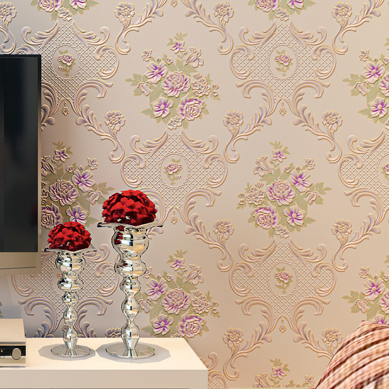 European Pastoral Style Pink Flowers Damask Wallpaper Roll for Bedroom Girls Room Decor Non-woven 3D Embossed Floral Wall Paper
