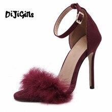 9e95be71e New Vogue Celebridade Marca Desiger Mulheres Sandálias Stiletto Pena Peludo  Cinta Fivela sapatos de Salto Alto