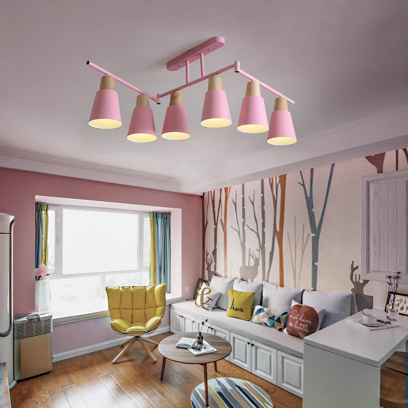 Macaron modern simple 6 lamp pendant lights metal with wood Accessory colorful kids room foyer adjustable decoration droplight in Pendant Lights from Lights Lighting