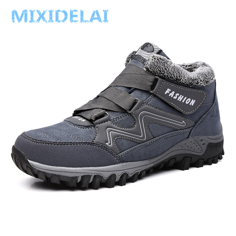 цена на MIXIDELAI Men Boots Winter With Plush Warm Snow Boots Casual Men Winter Boots Work Shoes Men Footwear Fashion Ankle Boots 39-44