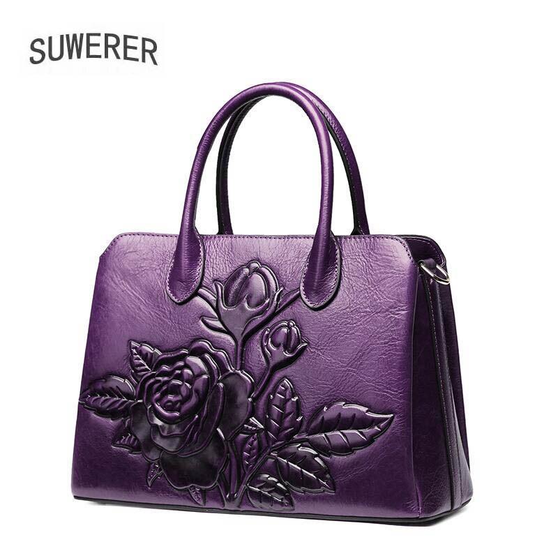2019 Časově omezené polyesterové hedvábné kapsy Suwerer Nové vynikající hovězí kůže pravé kůže Tote ženy kabelky růže květ luxusní taška
