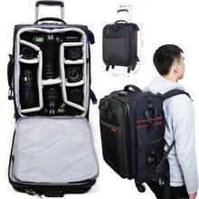 24 »58 см Pro большой Камера рюкзак для тележки сумка прокатки колесный чемодан Max для 2 * DSLR + 7 * линзы Travel фотограф фото видео
