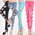 New Fashion Cool Vintage Ladies Sexy Hollow Casual Ripped Denim Jeggings Trouser side bow jeans