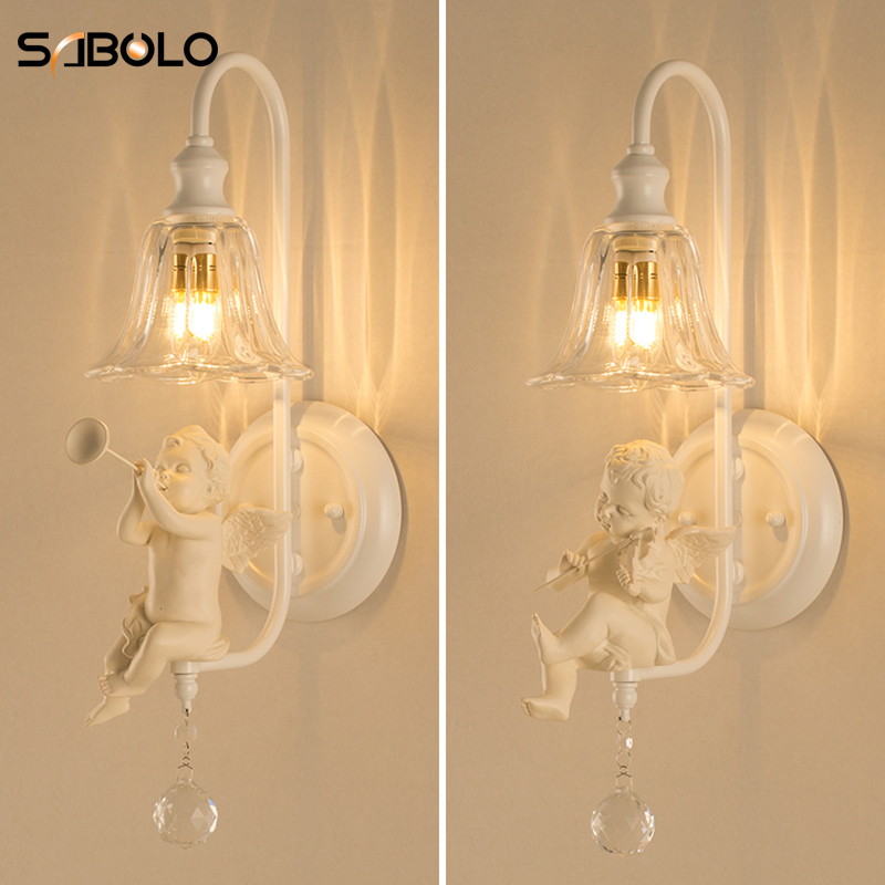 Led Lamps Lights & Lighting White Flower Angel Baby Resin Wall Lamp Wall Sconce Lighting Fixture For Home Bedroom Indoor Hallway Lighting Led Wall Lights Moderate Price