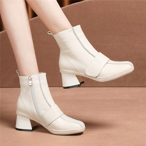 Image 5 - FEDONAS 2020 Genuine Leather Women High Heeled Ankle Boots Autumn Winter Chelsea Boots for Women Side Zipper Party Shoes Woman