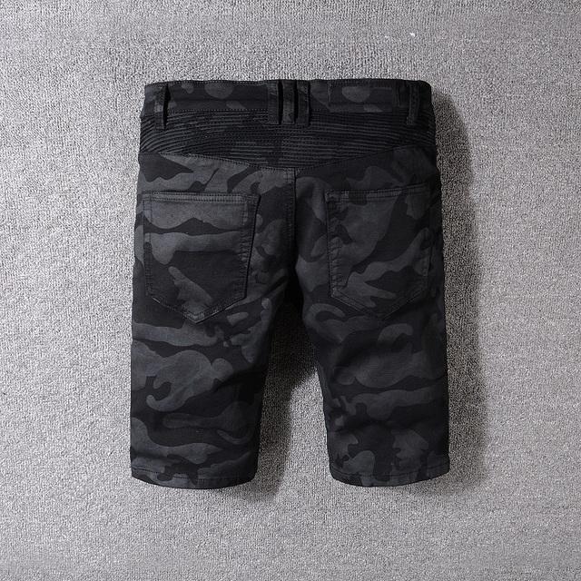 New France Style #1810# Mens Stretch  Shorts Pants Camouflage Black Zipper Biker Jeans Slim Ribbed Jeans Size 29-42