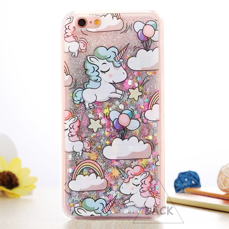 Cartoon Unicorn Horse Cover Dynamic Glitter Stars Dynamic Liquid Phone Cases for iPhone 6 Case For iphone 6S 6 Plus 4.7/5.5″ New