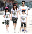 Parent-child outfit sundress family  2016  summer mother and son and daughter family camouflage suit