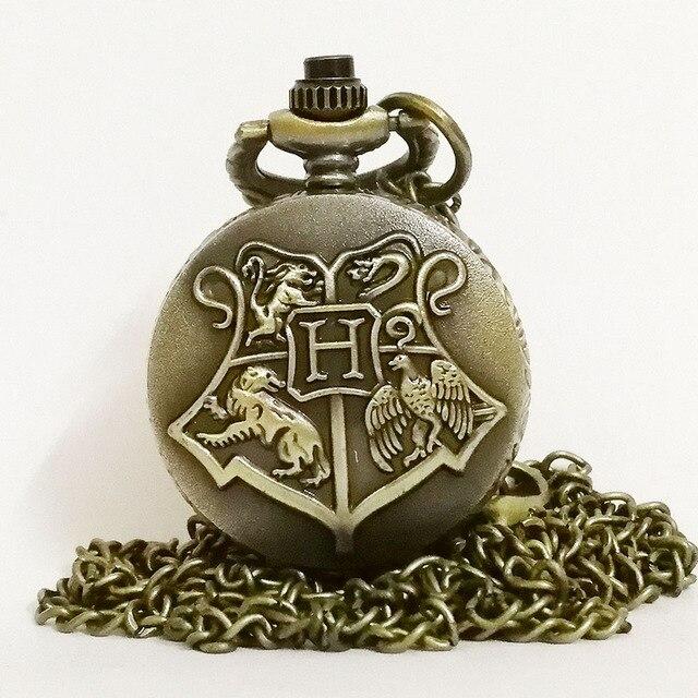 Vintage Retro Bronze/Black Harry Potter Hogwarts School H Color Dial Quartz Pock