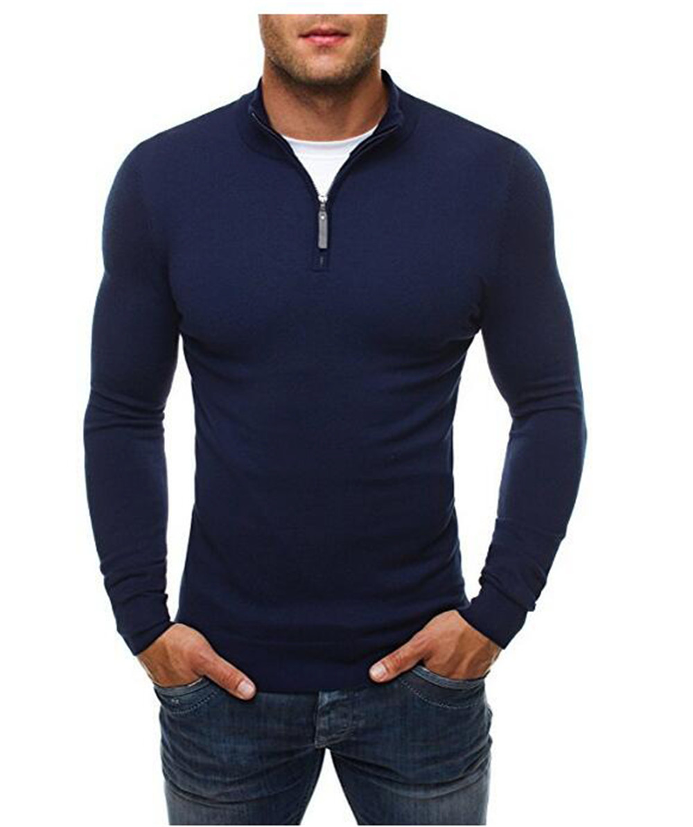 New Brand Sweater Pullover Men Casual Slim Sweaters Classic Zipper High Collar Simple Solid Color Men Sweater 3XL