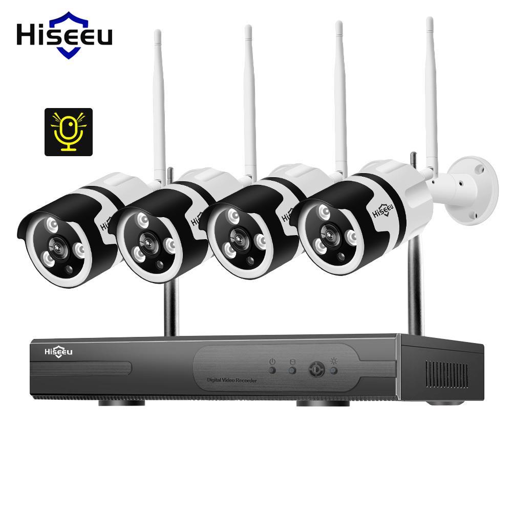 Hiseeu 4CH 1080 P Audio CCTV caméra de sécurité Système Kit Sans Fil 1 T HDD E-mail Alerte App Vue À Distance 3.6mm lentille