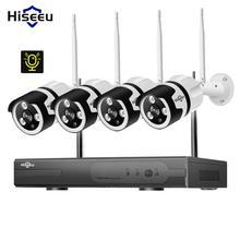 Hiseeu 4CH 1080 P Аудио видеонаблюдения системный комплект для фотокамеры беспроводной 1 т HDD e-mail оповещения приложение удаленного просмотра 3,6 мм объектив