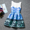 Chinese characteristics Blue and white porcelain patterns sleeveless O-neck casual girls dress knee-length dresses girls clothes