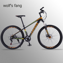 wolfs fang Bicycle Mountain bike 27 5 Fat bike 21 Speed bicycles the road bike mtb Dual disc brakes of Free shipping Man cheap Chrome-molybdenum Steel Aluminum Alloy Male 0 1 m3 160-185cm Spring Fork (Low Gear Non-damping) Front and Rear Mechanical Disc Brake