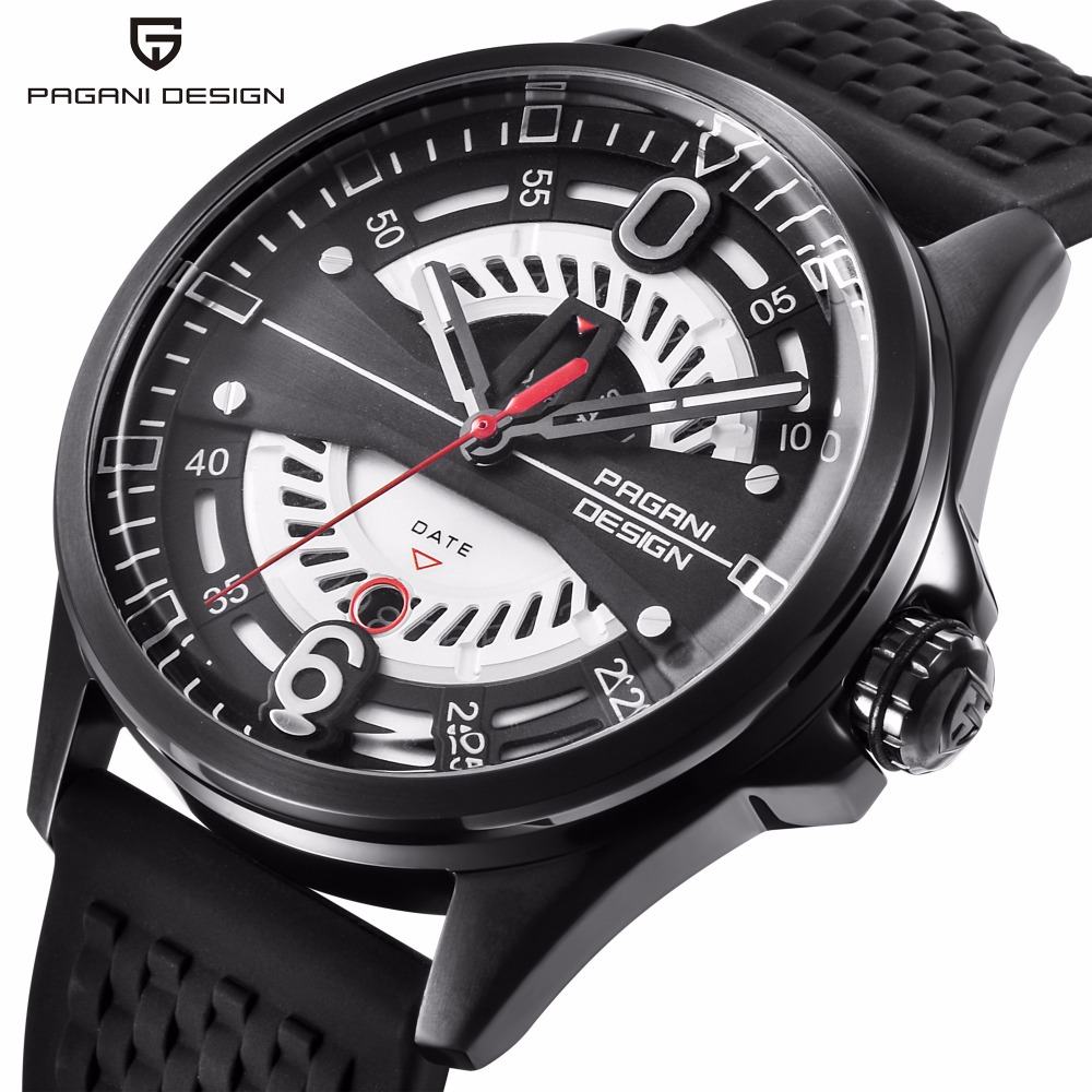 PAGANI DESIGN Brand Men's Quartz Sports Watches Men Rubber Strap Waterproof Wristwatches Mens Luxury Watch relogio masculino new listing bellmers brand high grade watches leather strap men waterproof quartz watch relogio masculino sports wristwatches