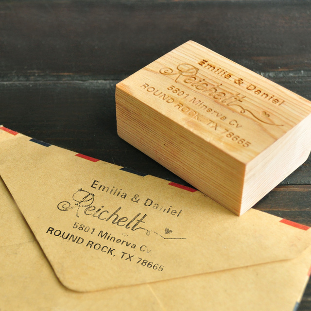 Personalized Wedding Stamp Custom Wood Return Address Invitation