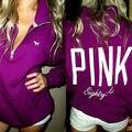New Tracksuit Women Brand Winter Pink Printed Hooded Easy Leisure Fleece Hoodies Sweatshirts Pullover Women Moletom Feminino