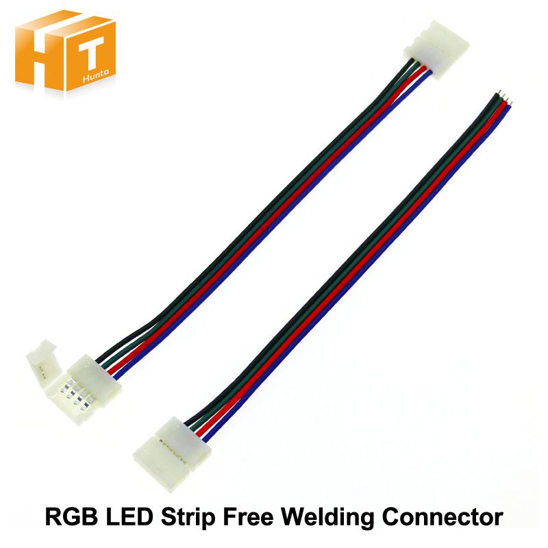 RGB LED Strip Connector 4pin 10mm Free Welding Connector 5pcs/lot. tanbaby 1pcs lot 10mm 4pin l shape led connector for 5050 rgb color led strip no welding strip connector for rgb strip light