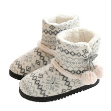 Suihyung 2019 New Winter Warm Women Indoor Shoes Short Plush Ankle Boots Thick Cashmere Cotton Padded Shoes Slip On Female Botas