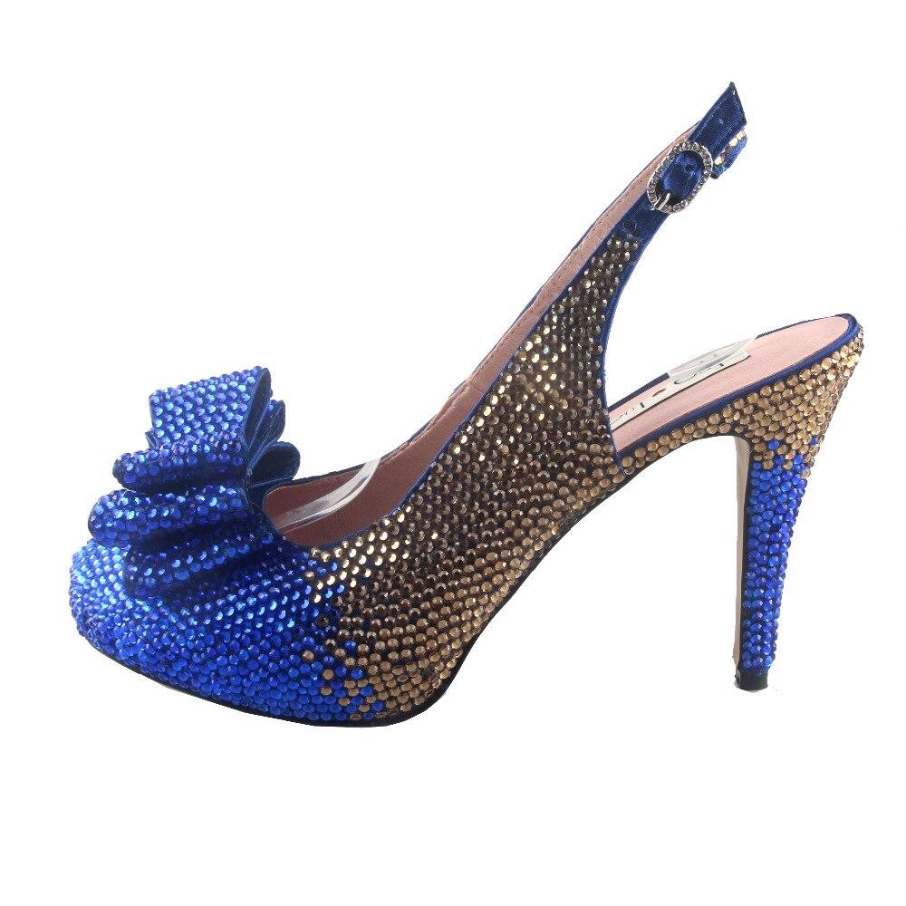 BS938 DHL hecho a medida zapatos de lazo de cristal de oro azul real con bolsas a juego conjunto de tacones de vestido de mujer Boda nupcial zapatos-in Zapatos de tacón de mujer from zapatos    3