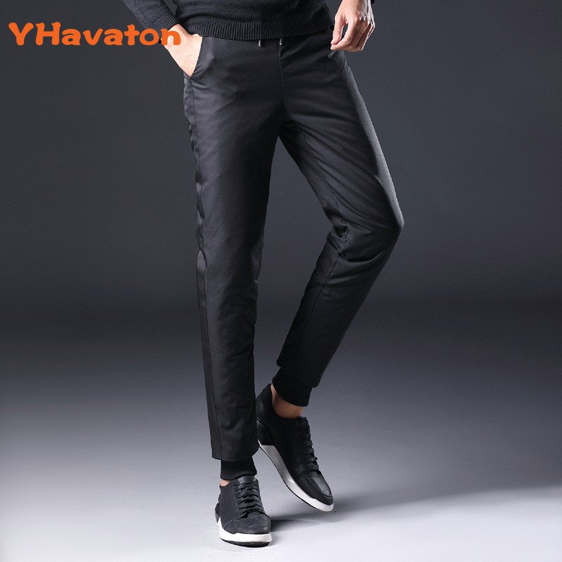 Yhavaton Padded-Trousers Snow-Pants 90%White-Duck-Down Outerwear Elastic-Waist Male Winter