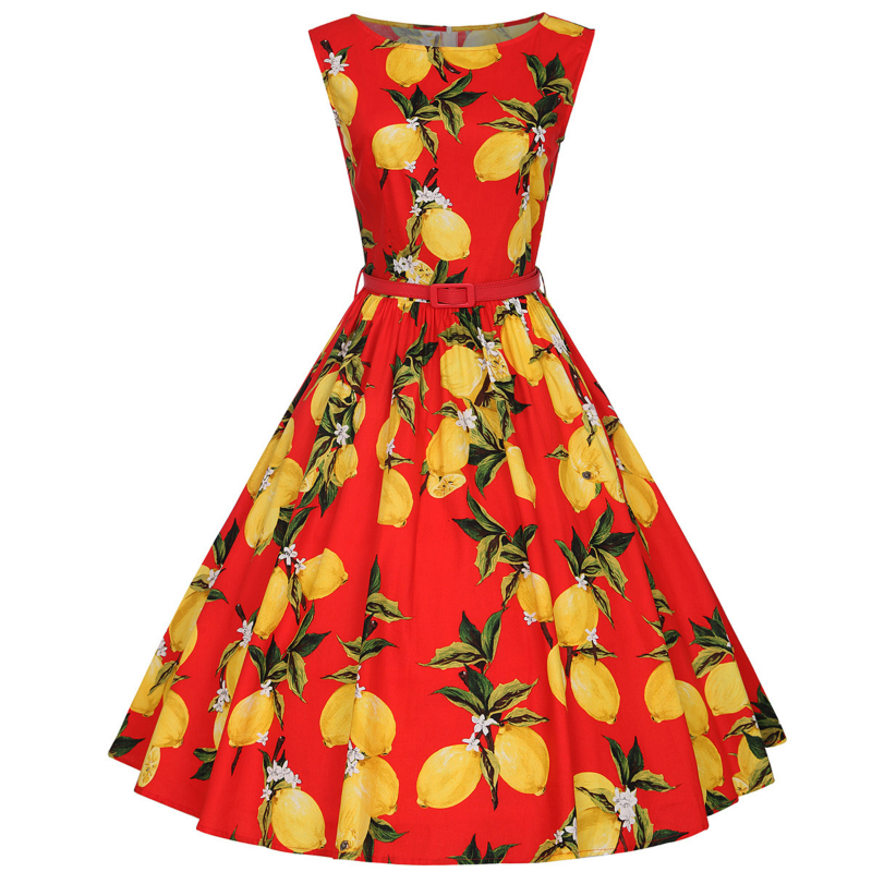XS 4XL Cotton Lemon Printing Swing 1950s Dress 2018 New Fashion Midi Length  Vintage Tutu Dresses Women Plus Size Summer Dress-in Dresses from Women s  ... e0b9c94d82eb
