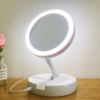 e4712eef7 Portátil LED espejo de maquillaje iluminado vanidad compacto hacer bolsillo  espejos vanidad cosméticos espejo de mano
